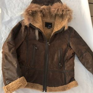 ANA brown Leather Hooded Coat Size Large